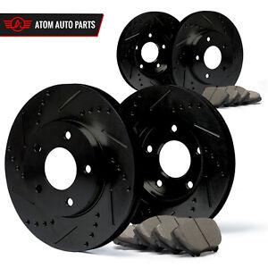 2006-2007-2008-Acura-TSX-Black-Slot-Drill-Rotor-Ceramic-Pads-F-R