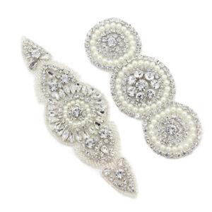 Crystal-Beaded-Bridal-Applique-Motif-Rhinestone-Wedding-Sash-Belt-Sewing-Trim