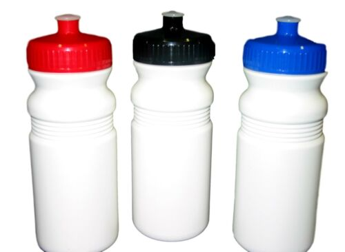 3 20 oz Sports Water Bottles Red Bluc Black Caps Made in America