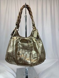 COACH-Madison-Gold-With-Rope-Strap-Signature-Patent-Leather-Hobo-Bag-17774