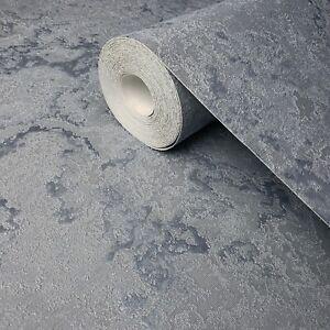 Wallpaper-Silver-Blue-metallic-textured-modern-plain-faux-plaster-textures-rolls