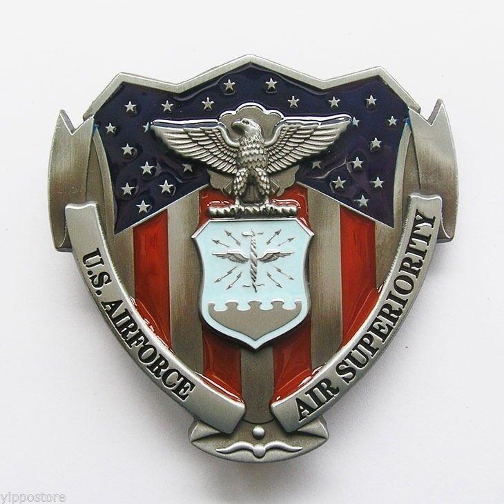 USAF U.S. Airforce Military w/ Color Belt Buckle