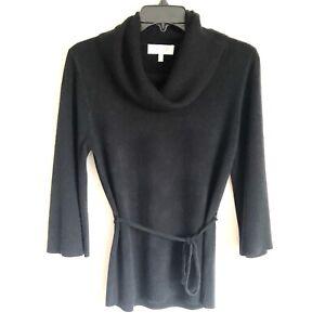 Sherry Taylor Women's Size Medium Black Waist Tie Cowl neck Sweater