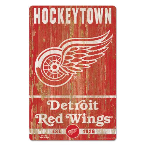 NHL Detroit Red Wings Hockeytown Slogan Wood Sign Holzschild Holz Eishockey