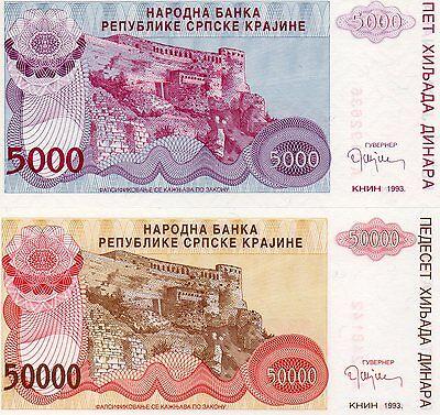 Pick R21 Croatia Knin 50000 1993 XF- aUNC Dinara 50,000