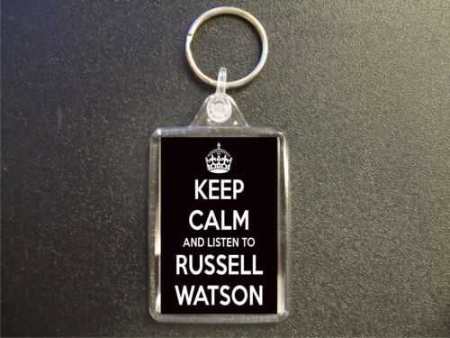 KEEP CALM AND LISTEN TO RUSSELL WATSON KEYRING BIRTHDAY GIFT BAG TAG