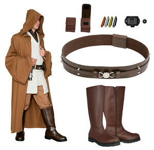 Details about Star Wars Costume Bundle , Obi Wan Tunic Brown Jedi Robe,  Belt, Boots+ from UK