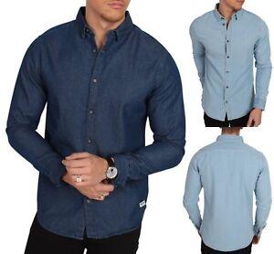 143763faf3f ONLY   SONS Long Sleeve Fashion Denim Shirt Vintage Light Dark Blue ...