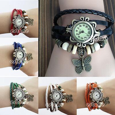 NEW Women Retro Bracelet Watch Quartz Movement Wrist Watch Butterfly Decoration