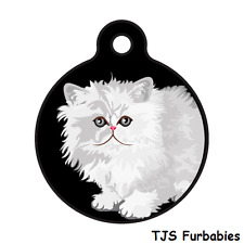 Persian Cat White -Custom Personalized ID Tag for Cat & Dog Collars & Harnesses