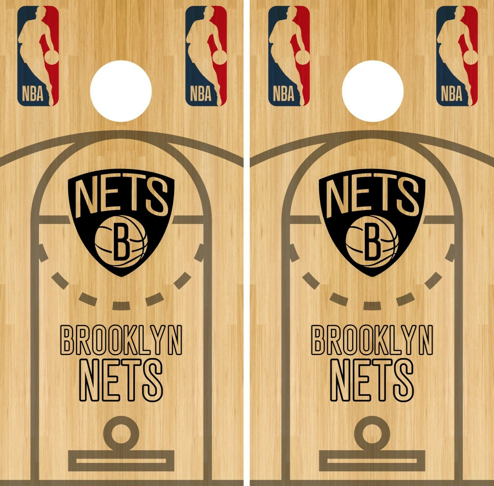 Brooklyn  Nets Cornhole Wrap NBA Game Court Board Skin Set Vinyl Decal CO566  incentive promotionals