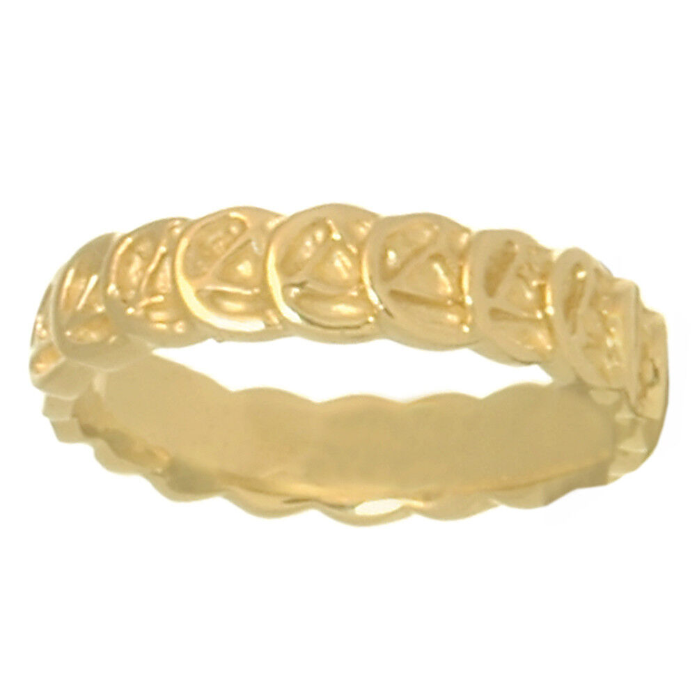Alcoholics Anonymous,Handcrafted Continuous Narrow Ring, Size 7, 14k gold