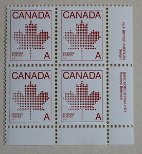 Canada-Postage-1981-034-A-034-Maple-Leaf-Non-Denominated-Plate-Block-907-MNH