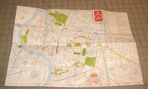 Pre-1975-TWA-Airlines-Small-Fold-Out-Map-of-BANGKOK-Thailand-A-O-A-Sheet