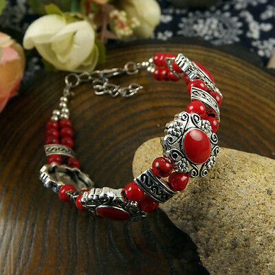 HOT Free shipping New Tibet silver multicolor jade turquoise bead bracelet S92