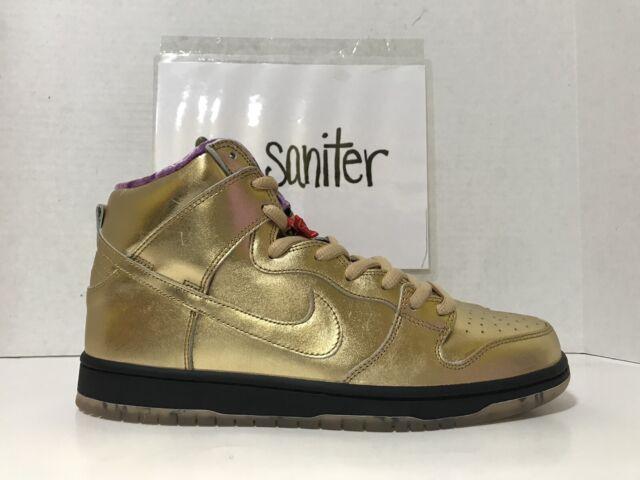 online store f25b1 98c94 Nike SB X Humidity Dunk High QS Trumpet Mens Av4168-776 Gold Shoes Size 8.5