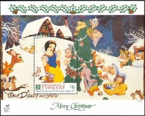 GRENADINES-OF-ST-VINCENT-1991-Natale-DISNEY-BIANCANEVE-cartoni-animati-1v-M-S-b409c