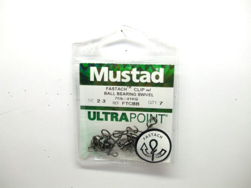 Mustad Ultra Point Fastach Clip With Ball Bearing Swivel BRAND NEW