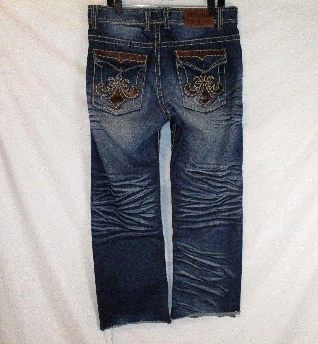 Affliction Mens Distressed Embellished Jeans bluee Denim 35X28 Whiskering EE456