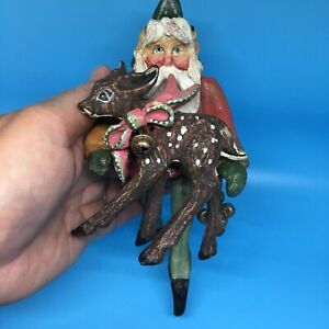 "Vintage House Of Hatten Santa Elf With Reindeer 8/"" Christmas Ornament 1988"