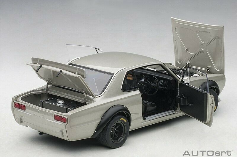 Autoart Nissan Skyline Gt-R KPGC-10 Racing  1972 Argent 1 18 Échelle Neuf  top marque