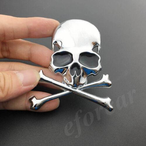 2pcs Chrome Metal Skull Skeleton Car Trunk Emblem Badge Decal Sticker Motorcycle