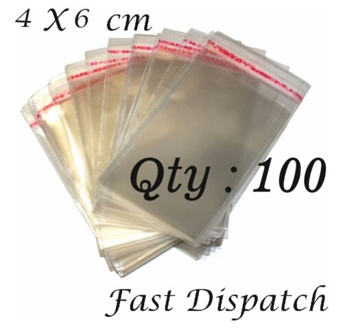 50-200 Cellophane Bags 4 X 6 cm Clear Cello Display Self Adhesive Peel /& Seal