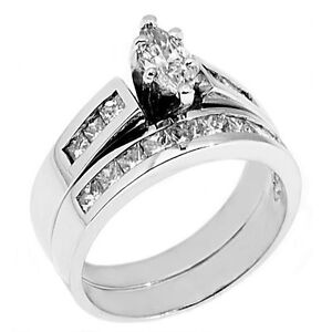 Womens Platinum Marquise Cut Diamond Engagement Ring