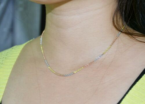 19.7INCH Pure 18K Multi-Tone Gold Necklace Rope Link Chain Necklace Au750