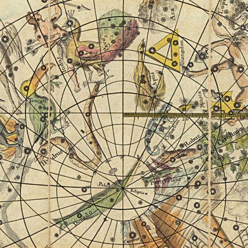 1820 Celestial Maps Both Hemispheres Constellations Wall Poster Art Astronomy