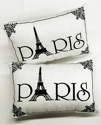 """""""Paris"""" -Accent Pillows -Set of 2 - Ornate Embroidery, Small - 8 1/2"""" x 5 1/2"""""""