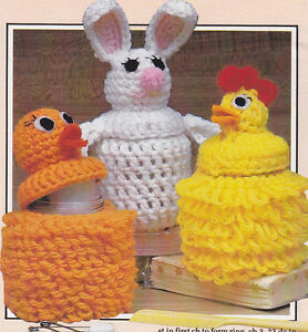 Vintage Crochet PATTERN to make Easter Egg Covers Bunny Chicken EggCovers