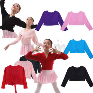 148e153702a7 Kids Girls Children Ballet Dance Crossover Cardigan Wrap Knitted Top ...