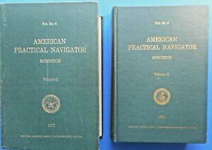 American Practical Navigator 2 Vol Set Bowditch 1977 & 1975 Edition Hardcover!