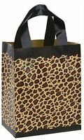 100 Bags Medium Frosted Plastic Leopard Print Shopping Bags 8 X 5 X 10 Inch