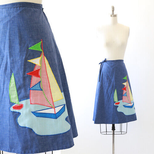 Vintage 70s chambray denim patchwork sailboat Naut