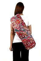 Maroon Paisley Kantha Quilt Gudri Yoga Bag Mat Carrier Handmade Indian Bag
