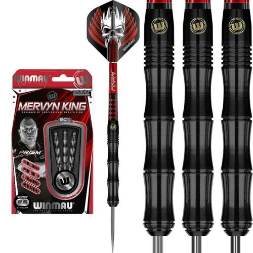 Black PVD Grip Winmau Mervyn King /'The King/' 90/% Tungsten Steel Tip Darts