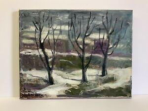 Original-Oil-Painting-Armenian-Artist-A-Laura-Winter-Landscape-Ashkenaz-11x14