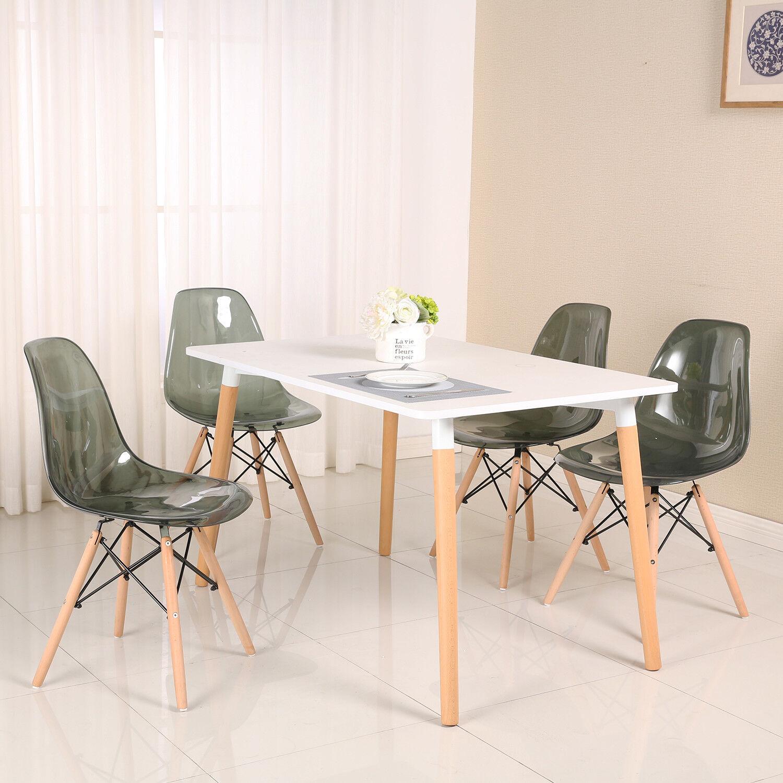 Salle A Manger Retro détails sur eggree lot de 4 rétro gris transparente chaises scandinave  salle à manger chaise