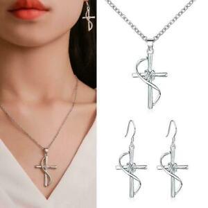 Fashion-Earrings-necklace-3-piece-set-cross-pendant-set-Favor-diamond-C2J5