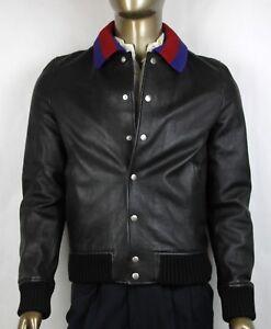 a200f49e2c Details about $3950 Gucci Men's Black Grainy Leather Bomber Jacket w/BR Web  48R 431345 1301