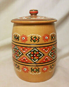 Vintage-Treen-Geometric-Hand-Painted-Colourful-Lidded-Turned-Wood-Lidded-Pot