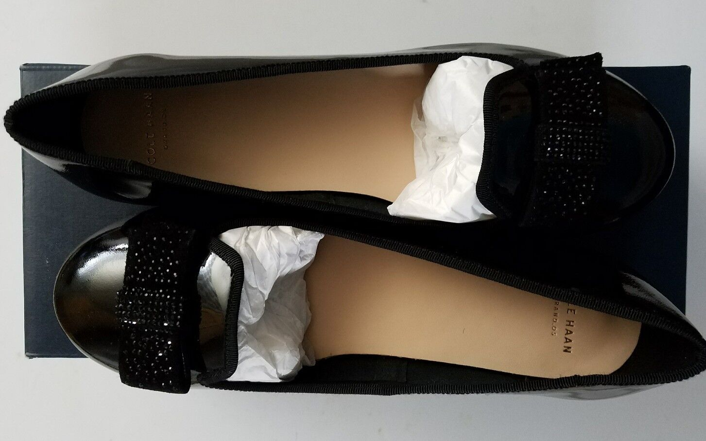 Cole Haan Morgan Slipper Slipper Morgan Jewel Bow Ballet Flat Shoe Black Patent Leather Size 7 2345a1