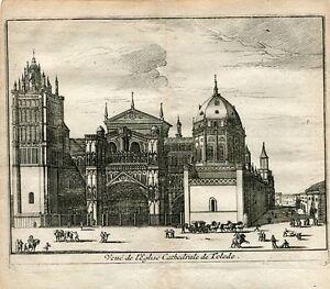 Vue-Of-L-039-Eglise-Cathedrale-Of-Toledo-Engraved-By-Pieter-Van-Der-Aa