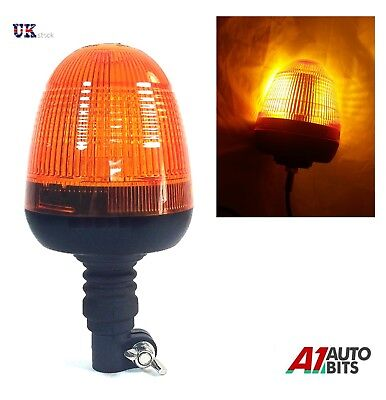 60 LED Rotating Flash Amber Beacon Flexible DIN Pole Mount Tractor Warning Light