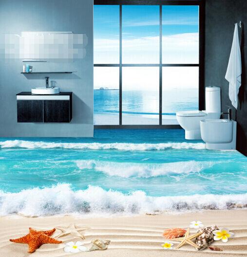 3D Spiaggia Onde 249 Pavimento Foto Wallpaper Murales Muro Stampa Decalcomania