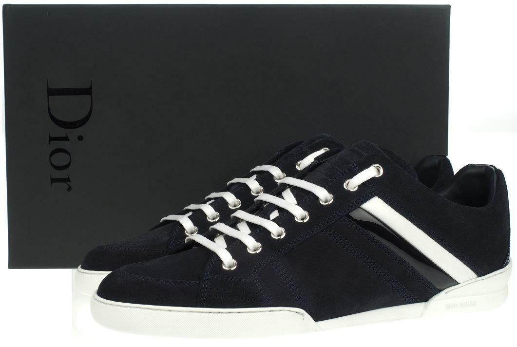 NEW DIOR HOMME MEN'S NAVY BLUE MATTE SUEDE TRAINERS LOW TOP SNEAKERS SHOES 41/8