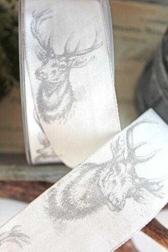 2m dekoband Hirsch reno 40mm blanco gris taftband otoño Navidad 1,20 €//m
