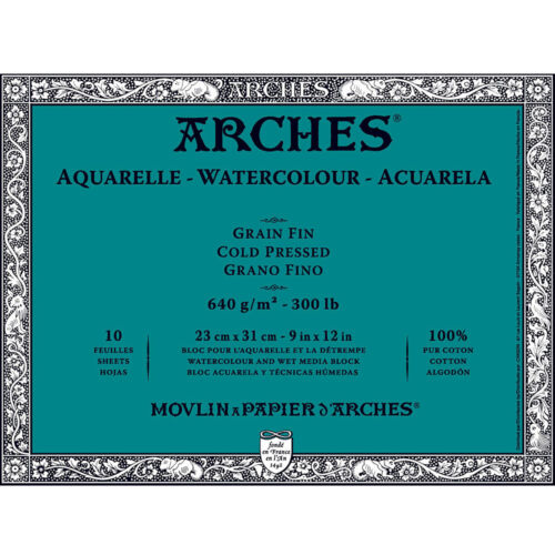 Arches Aquarelle Heavyweight Block 9x12in 300lb 10 Sheets Not